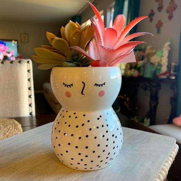 Whimsical Faux Succulent Face Planter